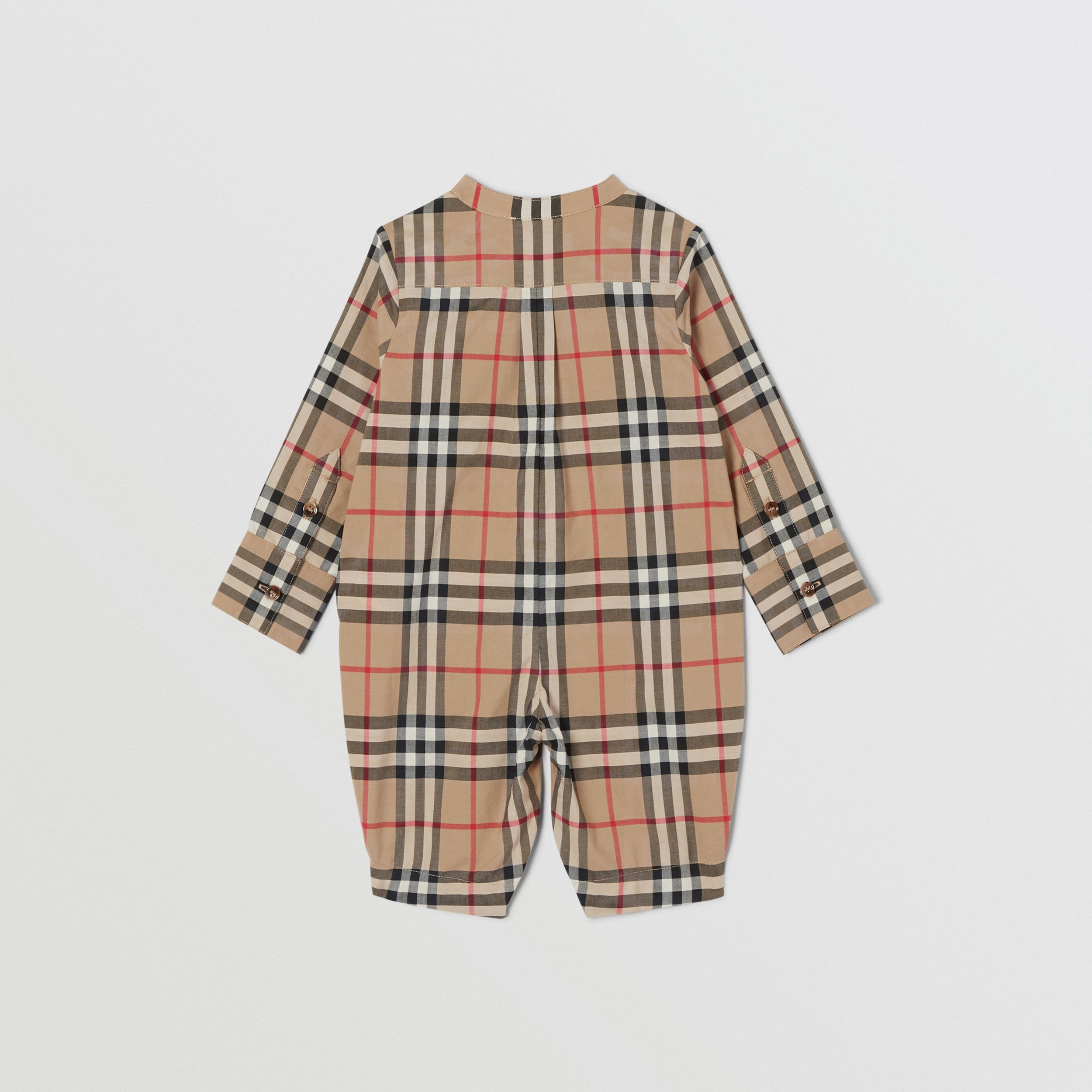 Vintage Check Cotton Jumpsuit in Archive Beige - Children | Burberry - 4