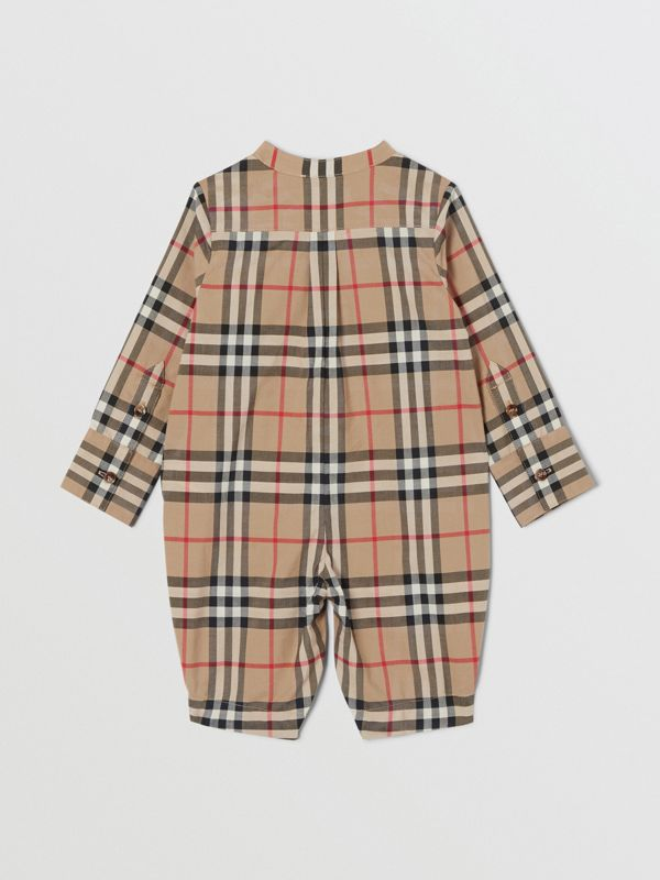 Vintage Check Cotton Jumpsuit in Archive Beige - Children | Burberry United Kingdom - cell image 3