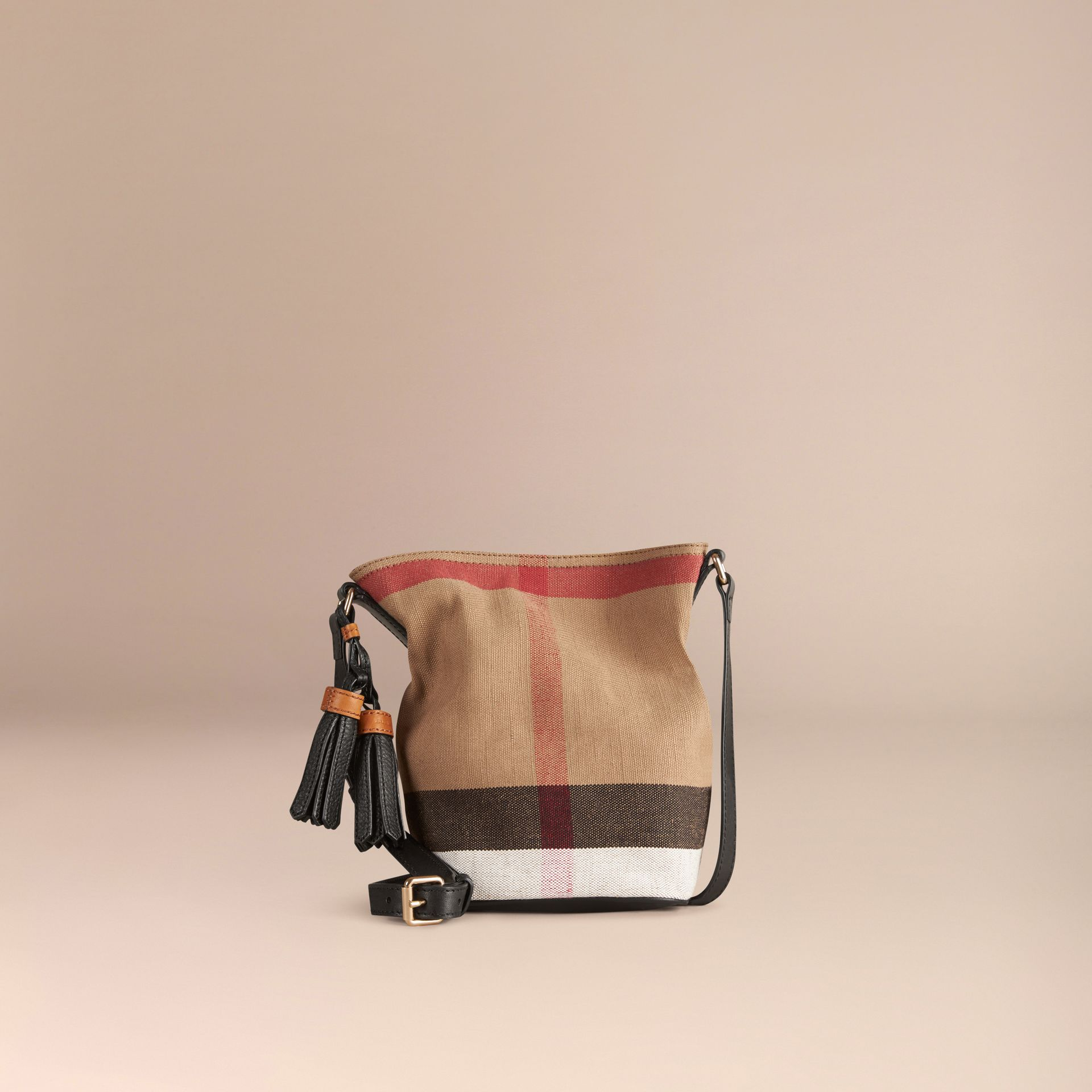 The Small Ashby in Canvas Check and Leather Black - gallery image 7