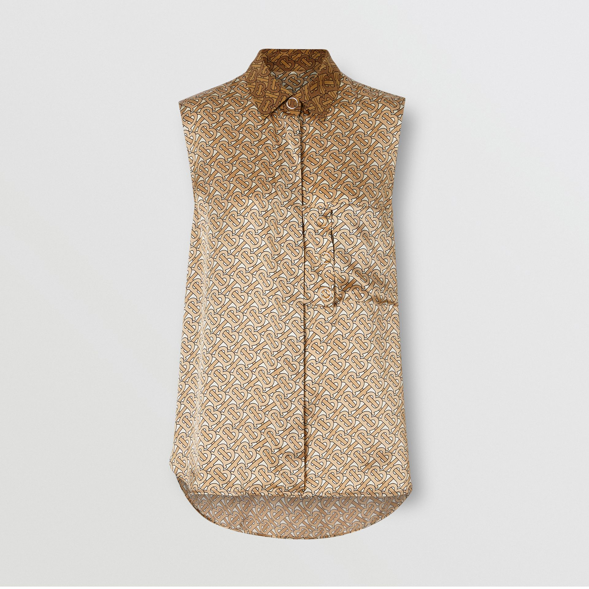 Sleeveless Monogram Print Silk Satin Oversized Shirt in Beige - Women | Burberry Singapore - gallery image 3