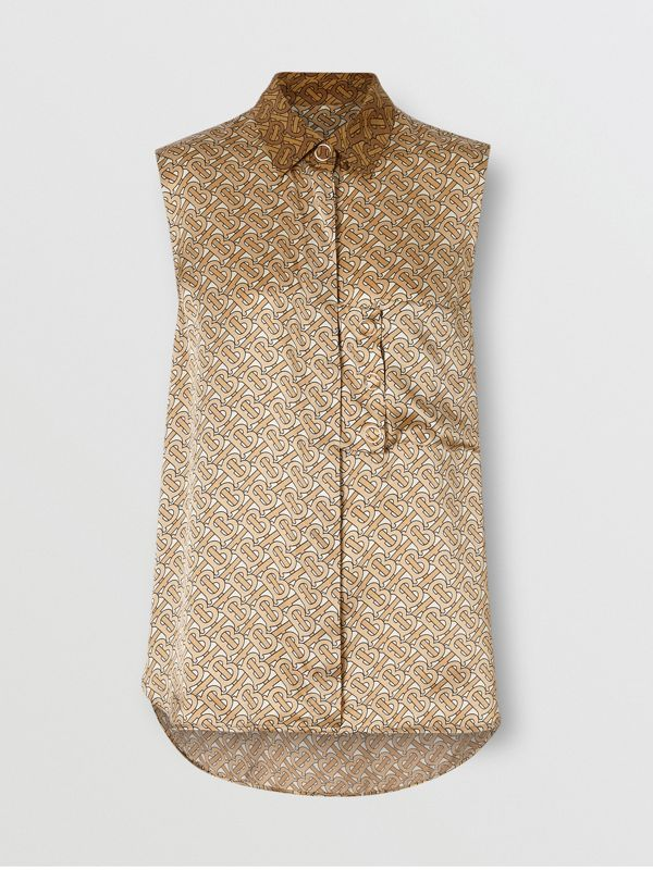 Sleeveless Two-tone Monogram Print Silk Satin Shirt in Beige - Women | Burberry - cell image 3
