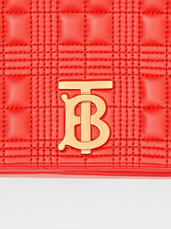 Small Quilted Check Lambskin Lola Bag in Bright Red - Women | Burberry - cell image 1