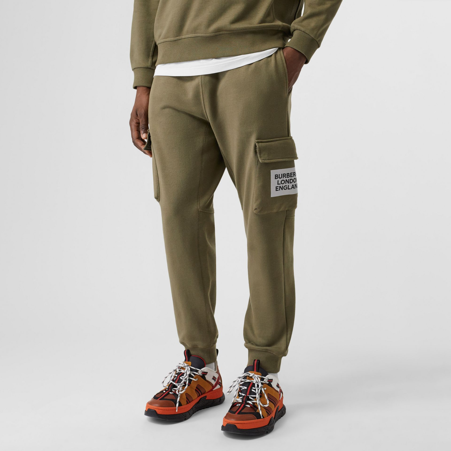 Logo Print Cotton Trackpants in Dark Moss - Men | Burberry - gallery image 4