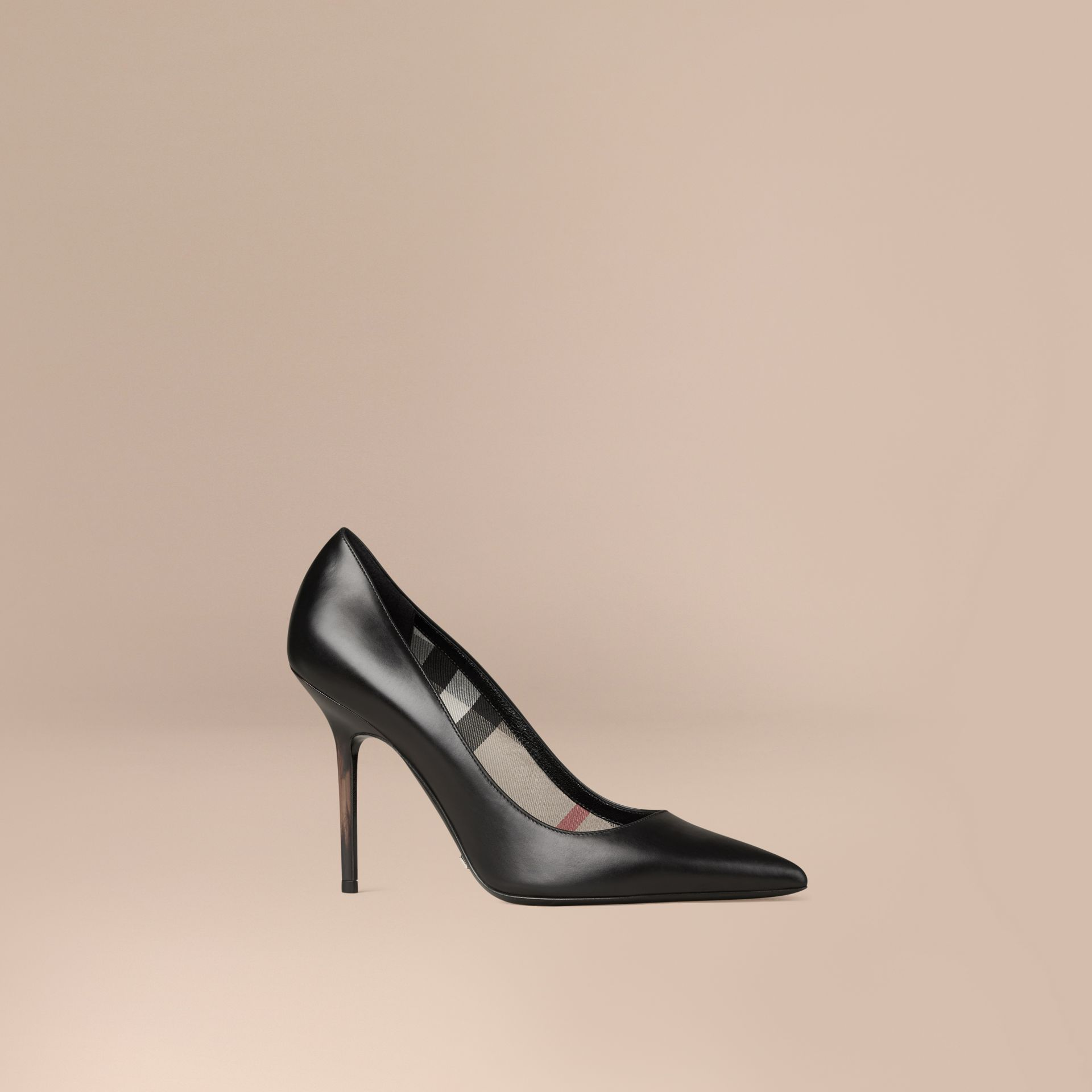 Black Hand-painted Point-toe Leather Pumps Black - gallery image 1