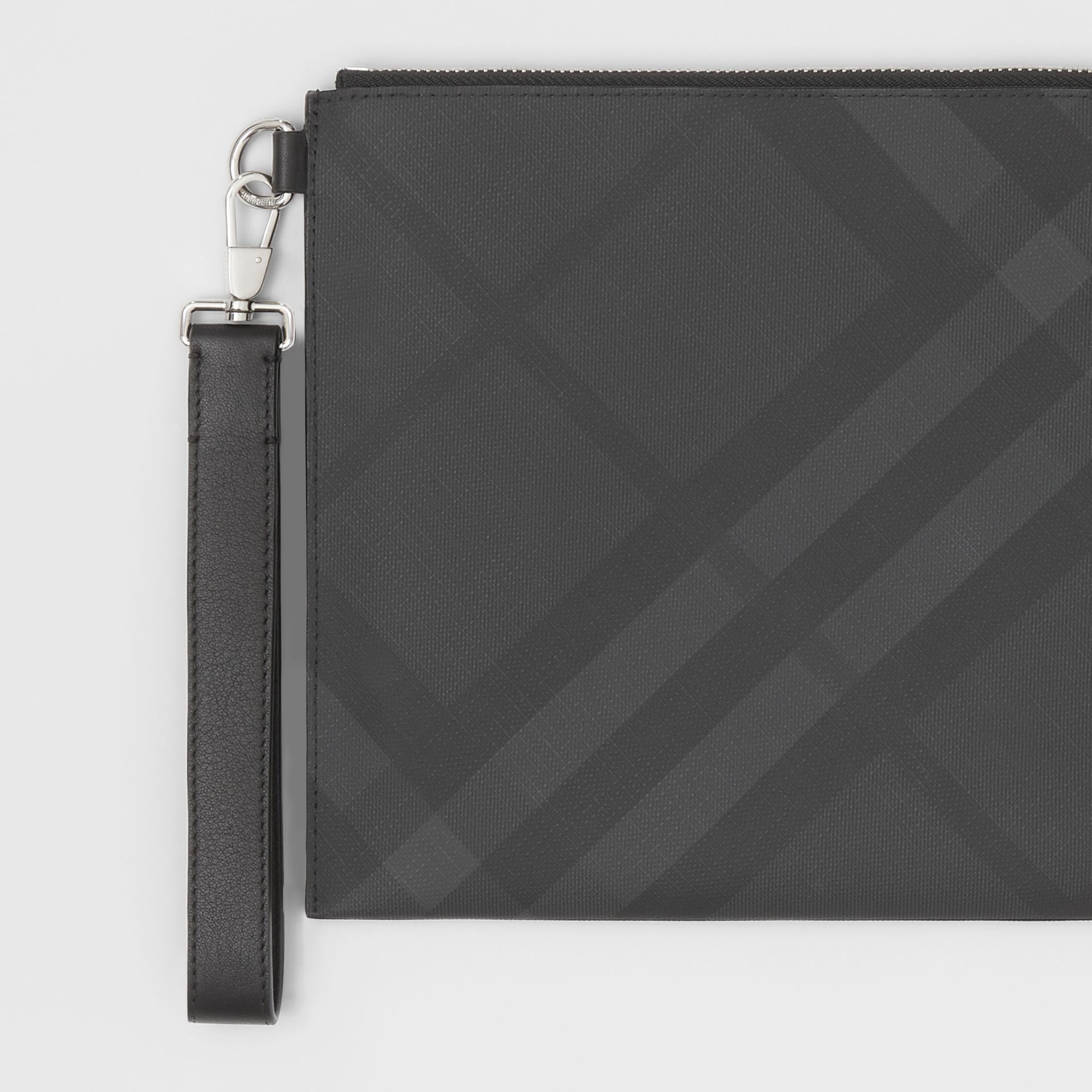 London Check and Leather Zip Pouch in Dark Charcoal - Men | Burberry United Kingdom - gallery image 1