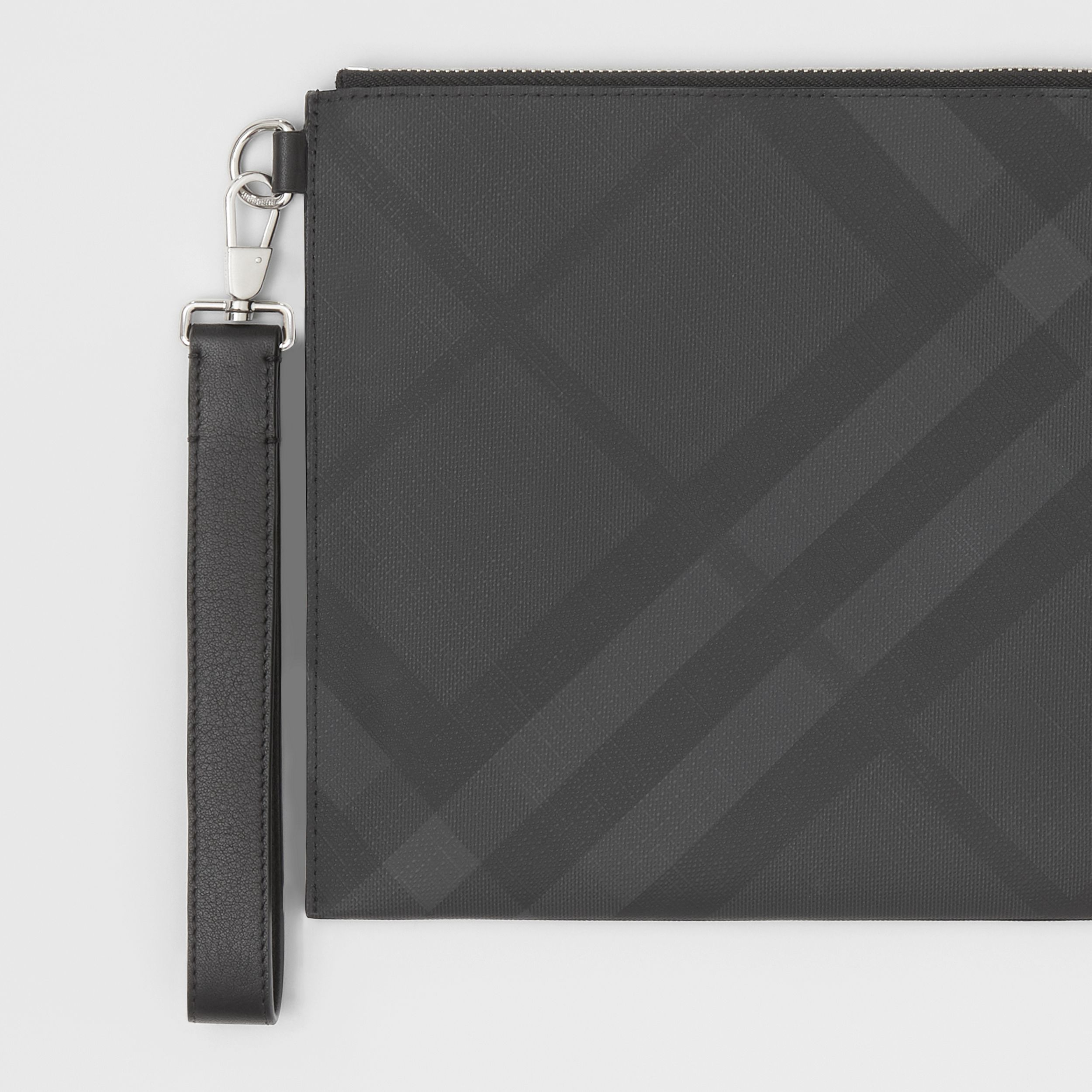 London Check and Leather Zip Pouch in Dark Charcoal - Men | Burberry Canada - 2