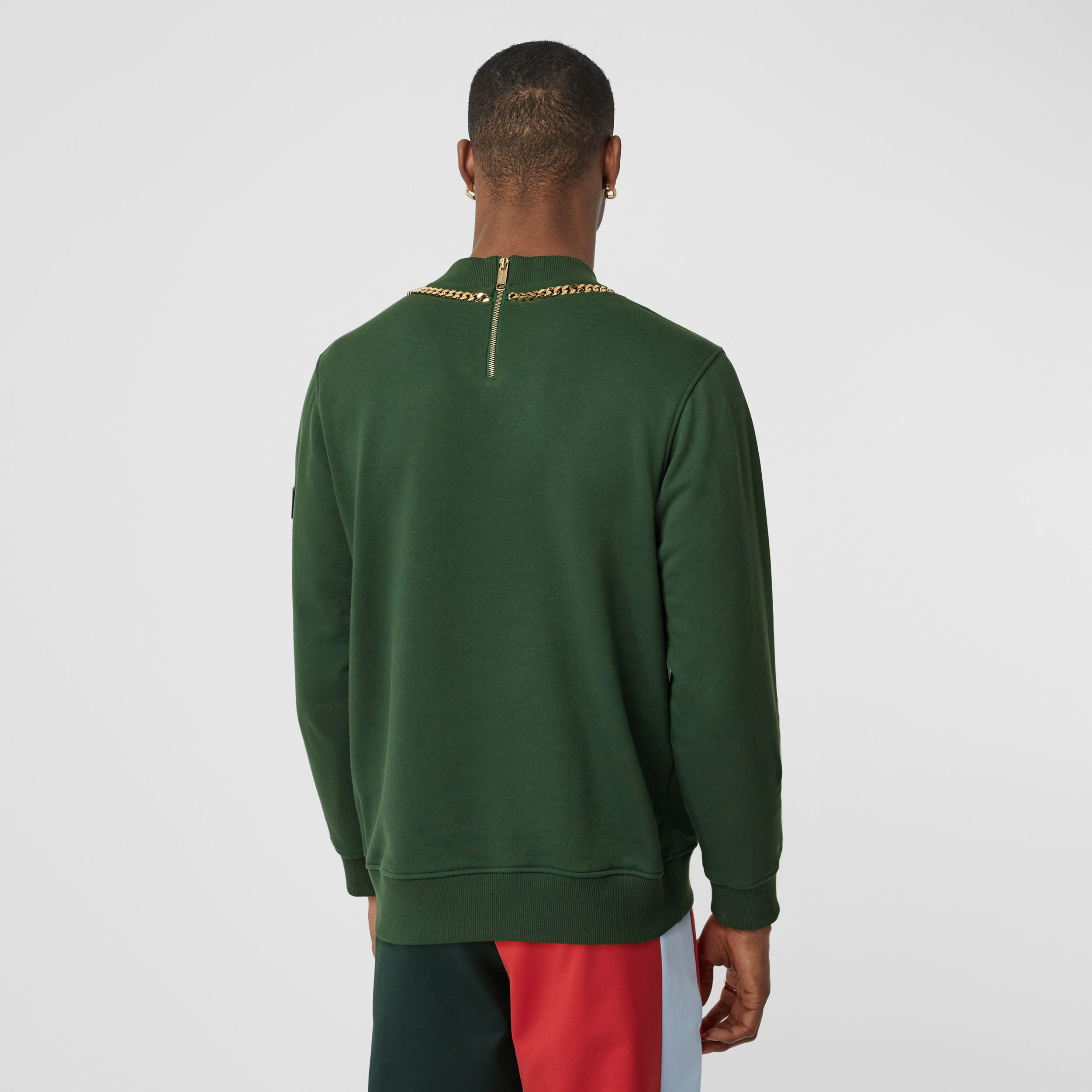 Chain Detail Cotton Sweatshirt in Dark Pine Green - Men | Burberry - 3