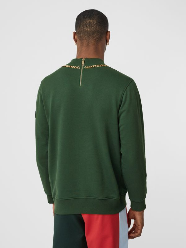 Chain Detail Cotton Sweatshirt in Dark Pine Green - Men | Burberry - cell image 2