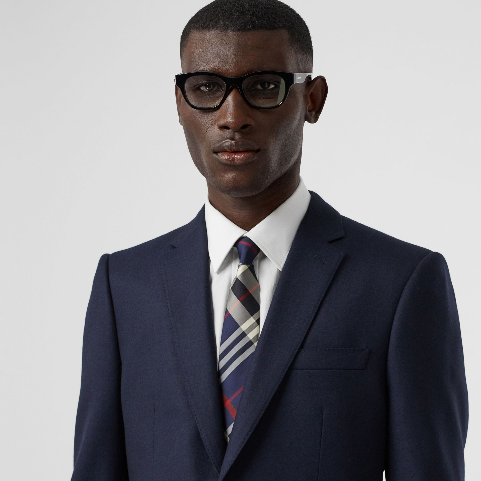 Classic Cut Check Silk Tie in Navy - Men | Burberry Singapore - gallery image 2
