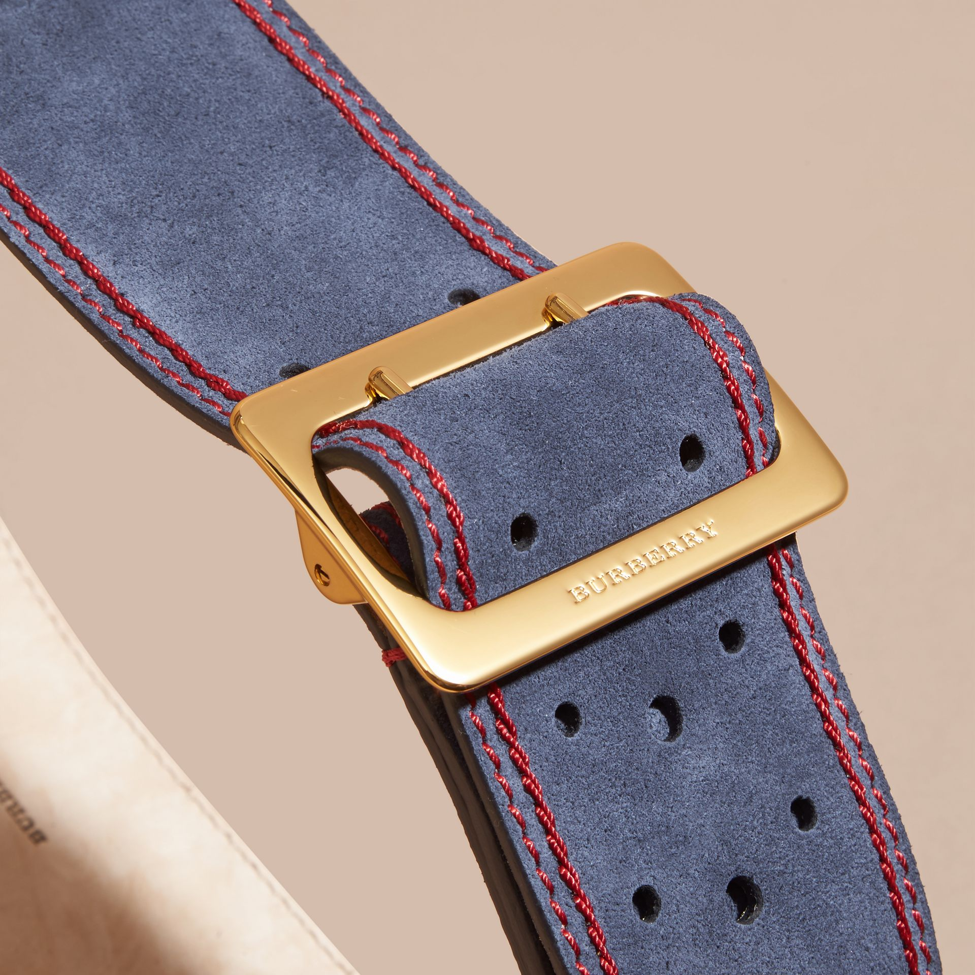 Navy English Suede Belt - gallery image 2