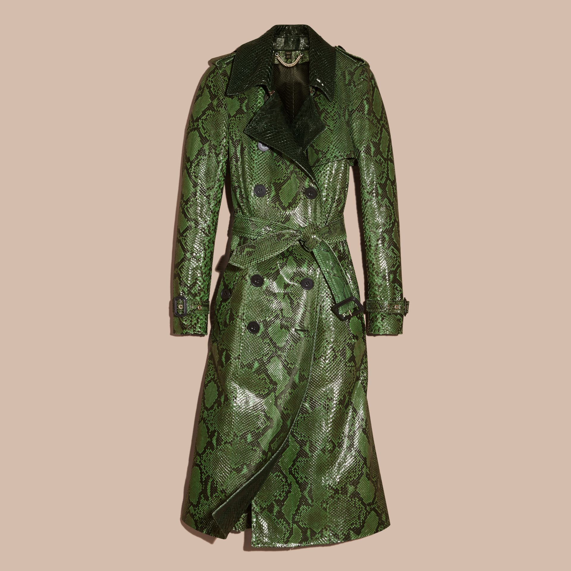 Bright green Unlined Python Trench Coat - gallery image 4