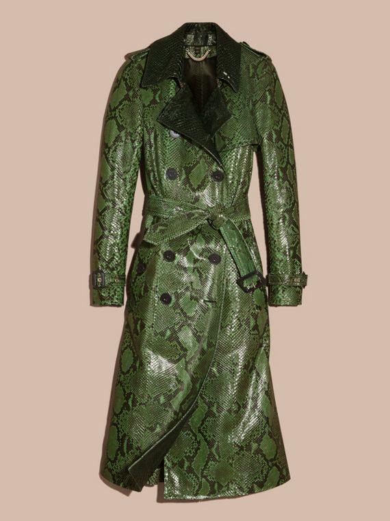 Bright green Unlined Python Trench Coat - cell image 3