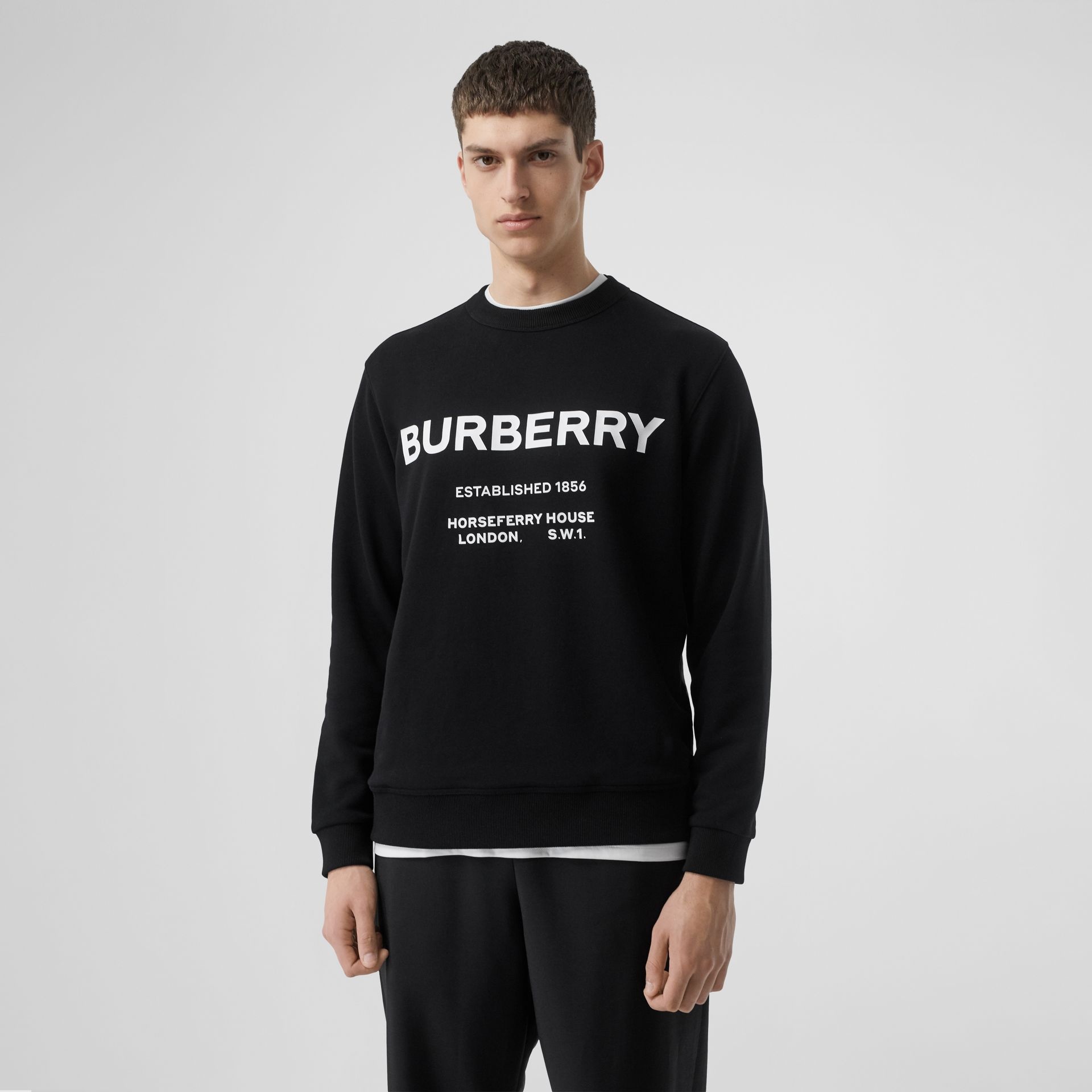 Horseferry Print Cotton Sweatshirt in Black - Men | Burberry Australia - gallery image 4