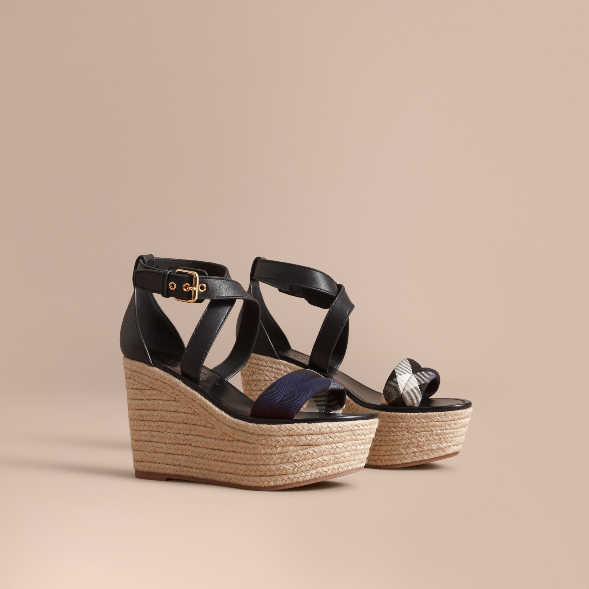 Leather and House Check Platform Espadrille Wedge Sandals Navy - gallery image 1