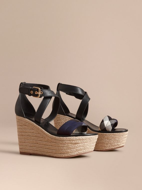 Leather and House Check Platform Espadrille Wedge Sandals Navy