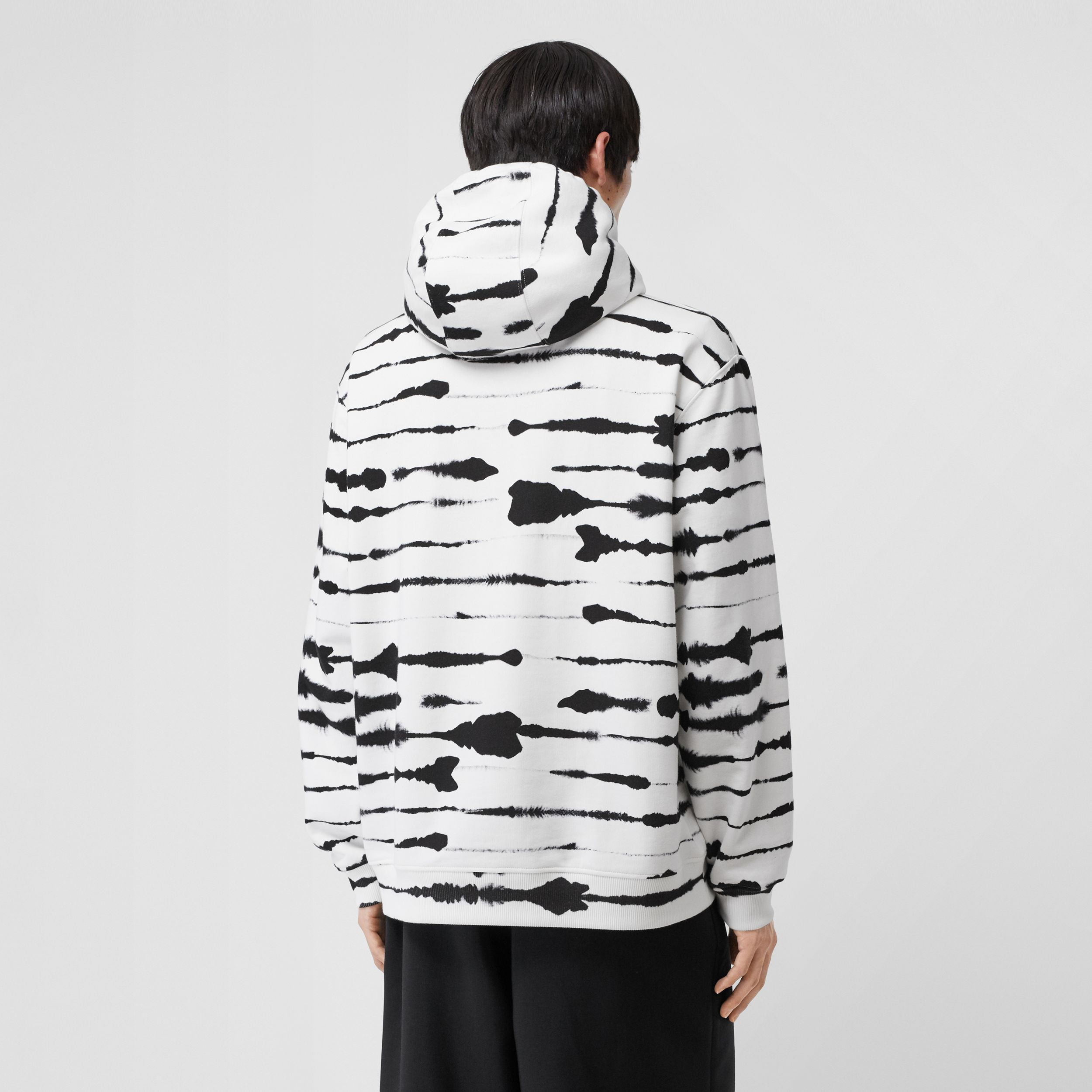 Logo Appliqué Watercolour Print Cotton Hoodie in Monochrome - Men | Burberry - 3