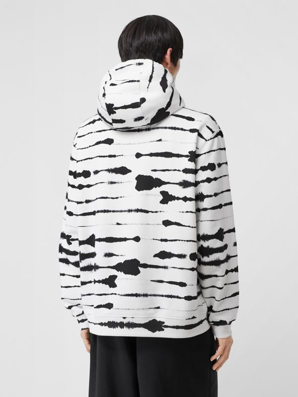 Logo Appliqué Watercolour Print Cotton Hoodie in Monochrome | Burberry - cell image 2