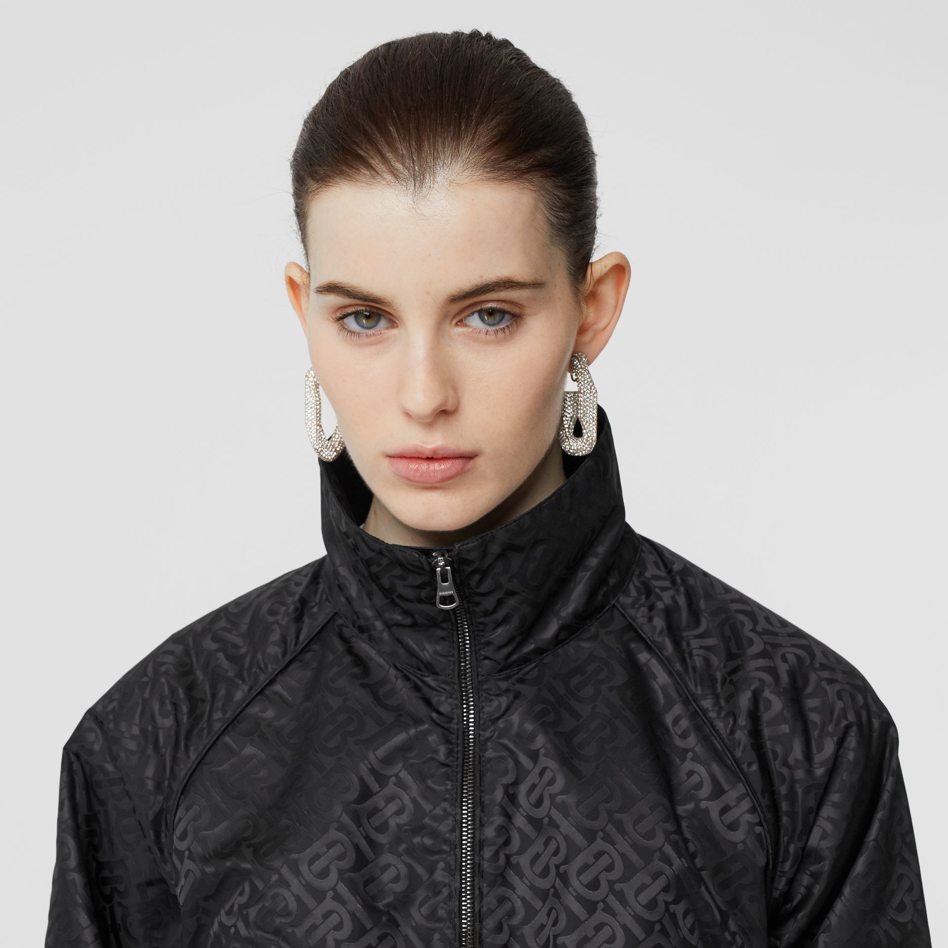 Monogram ECONYL® Jacquard Funnel Neck Jacket in Black - Women | Burberry - gallery image 1