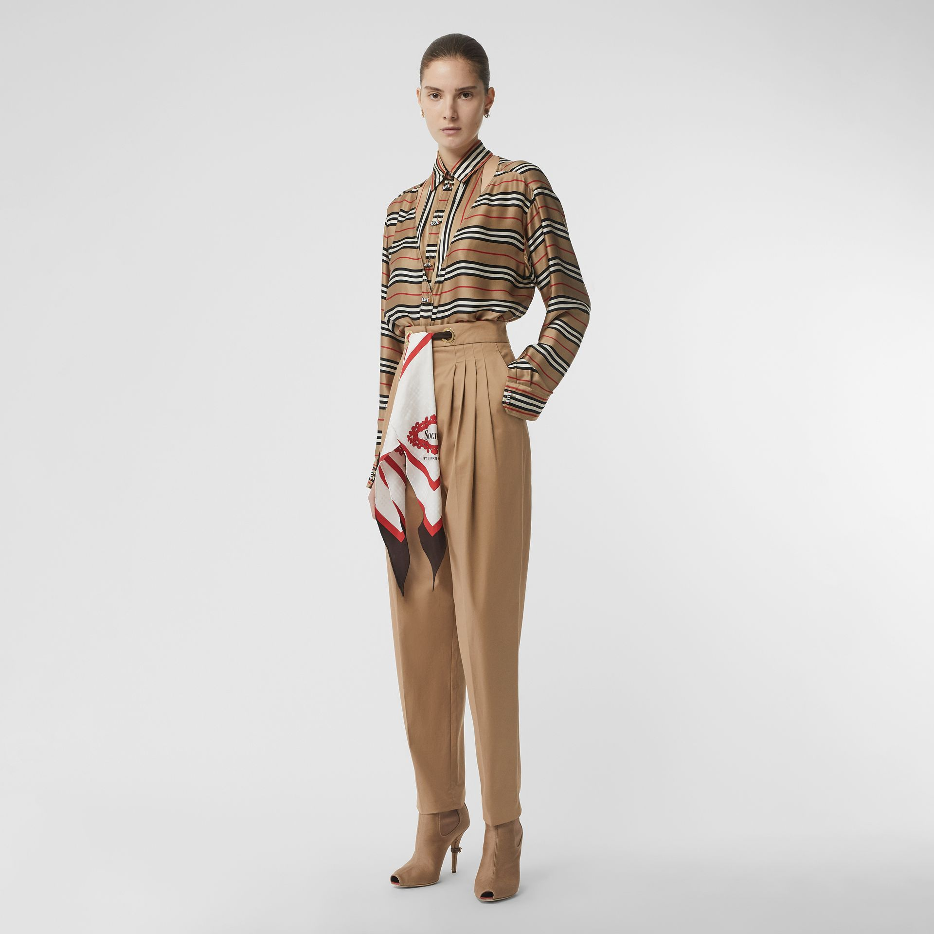 Scarf Detail Cotton Tapered Trousers in Driftwood - Women | Burberry - gallery image 0