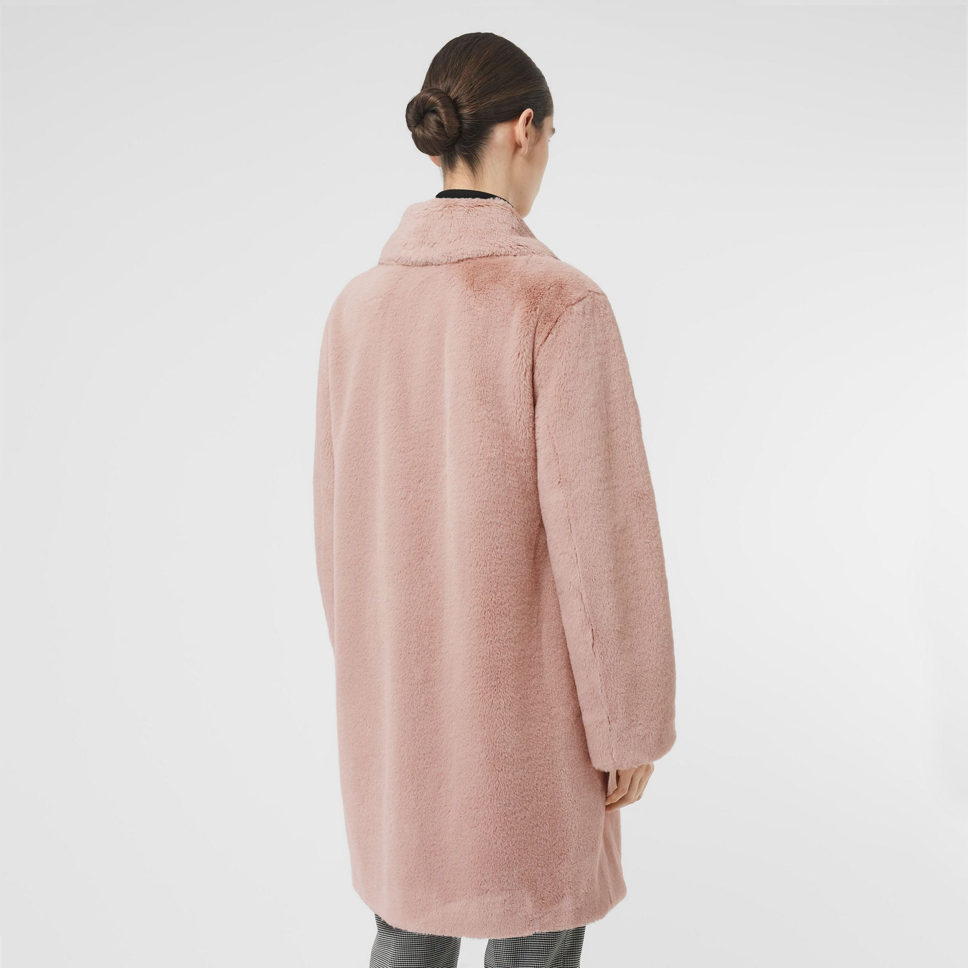 Faux Fur Single-breasted Coat in Pale Blush - Women | Burberry United Kingdom - gallery image 2