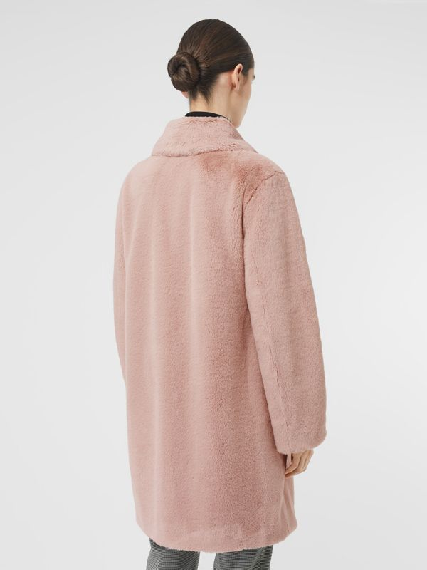 Faux Fur Single-breasted Coat in Pale Blush - Women | Burberry - cell image 2