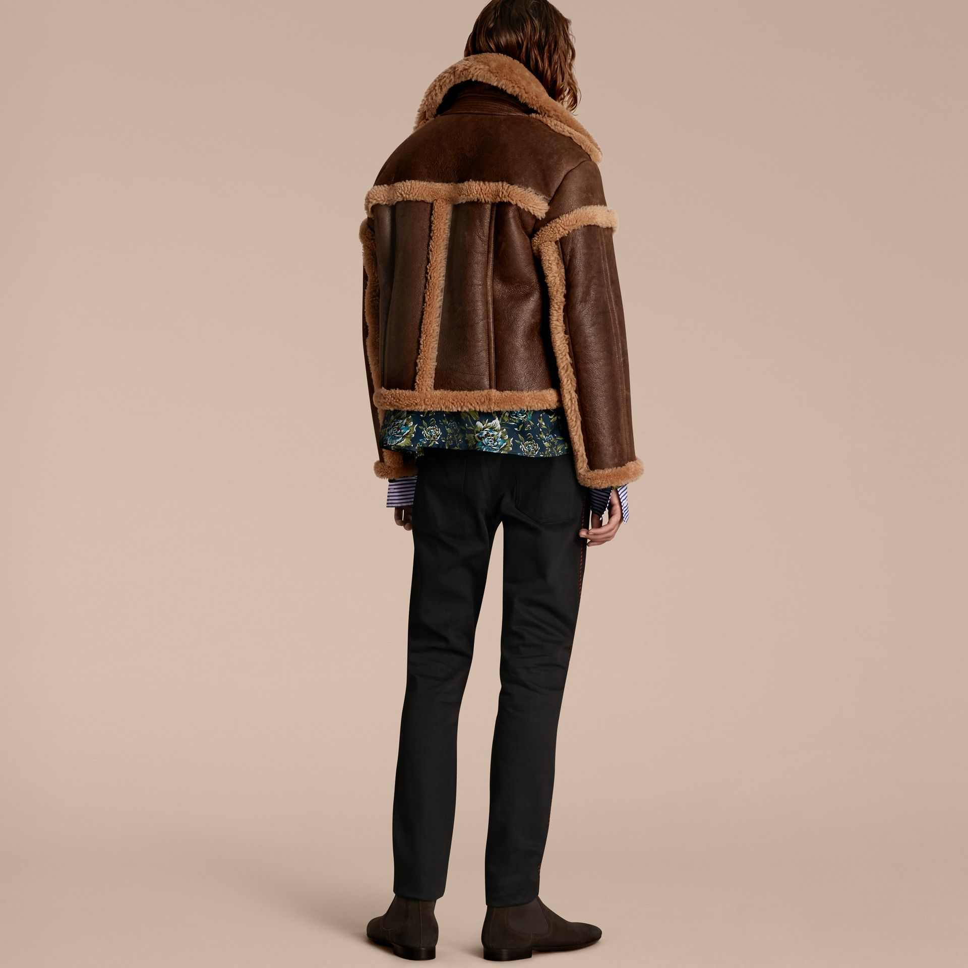 Dark tan/white Sculptural Shearling Flight Jacket - gallery image 3