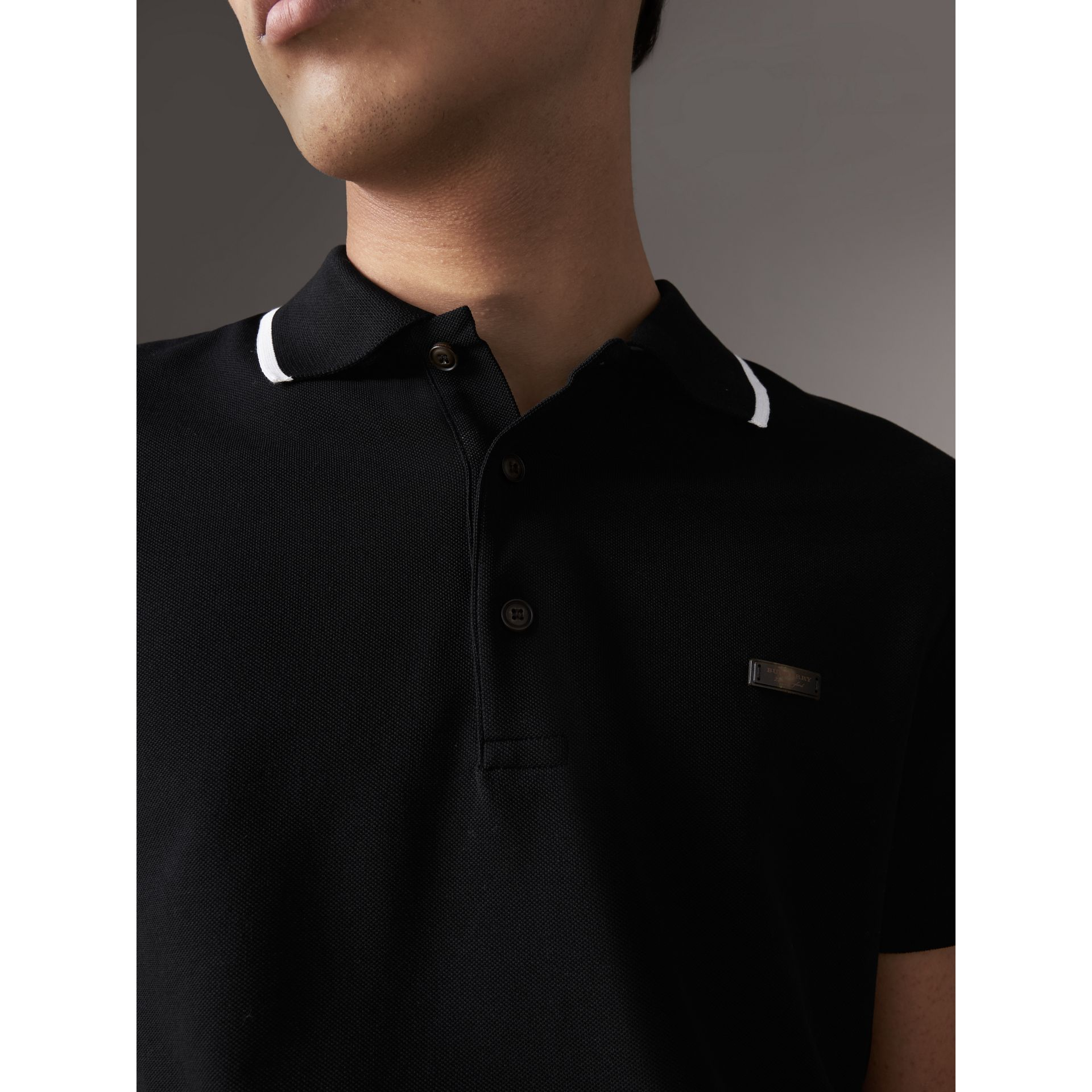 Tipped Collar Cotton Piqué Polo Shirt in Black - Men | Burberry - gallery image 2