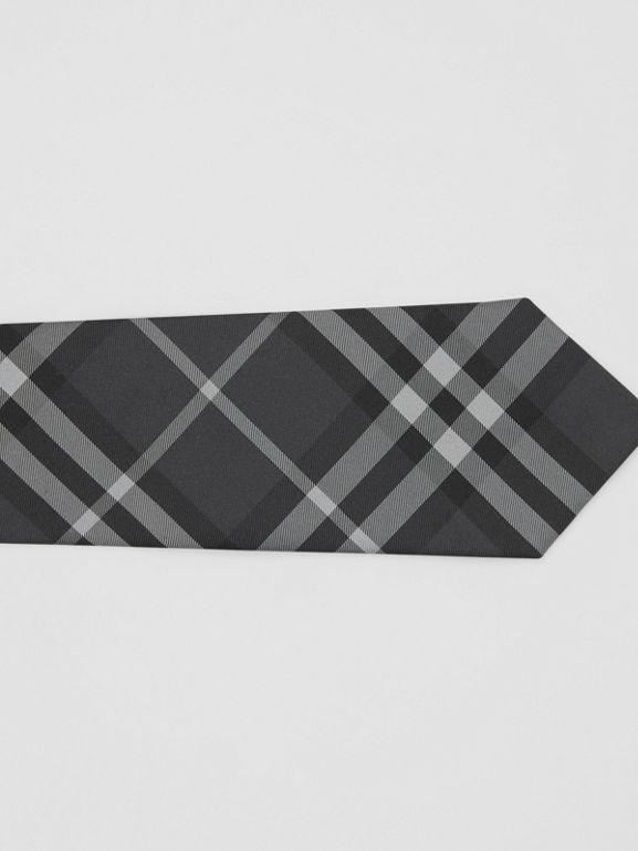 Classic Cut Vintage Check Silk Tie in Charcoal - Men | Burberry - cell image 1