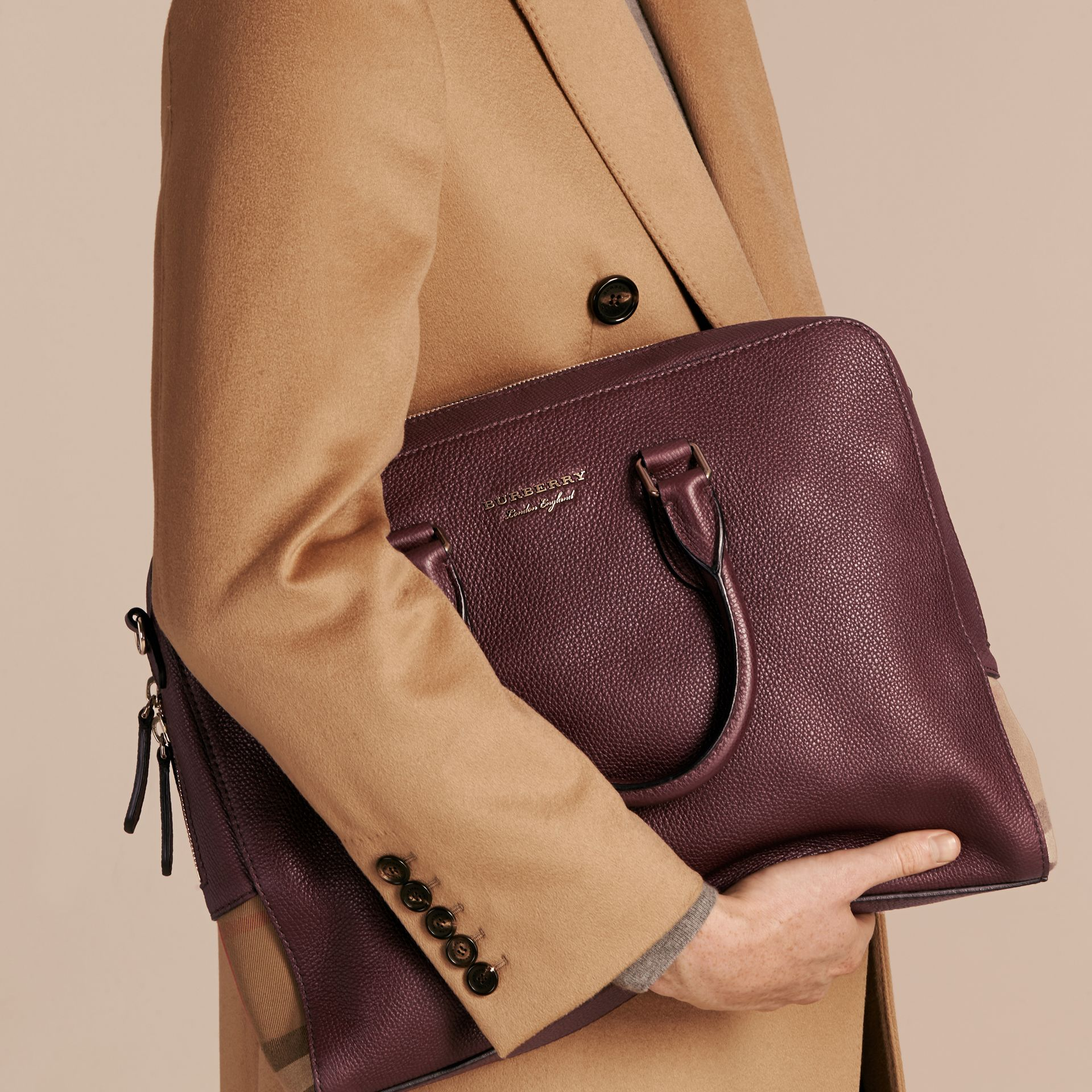 Leather and House Check Briefcase in Wine - Men | Burberry - gallery image 2