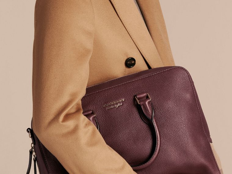 Leather and House Check Briefcase in Wine - Men | Burberry - cell image 1