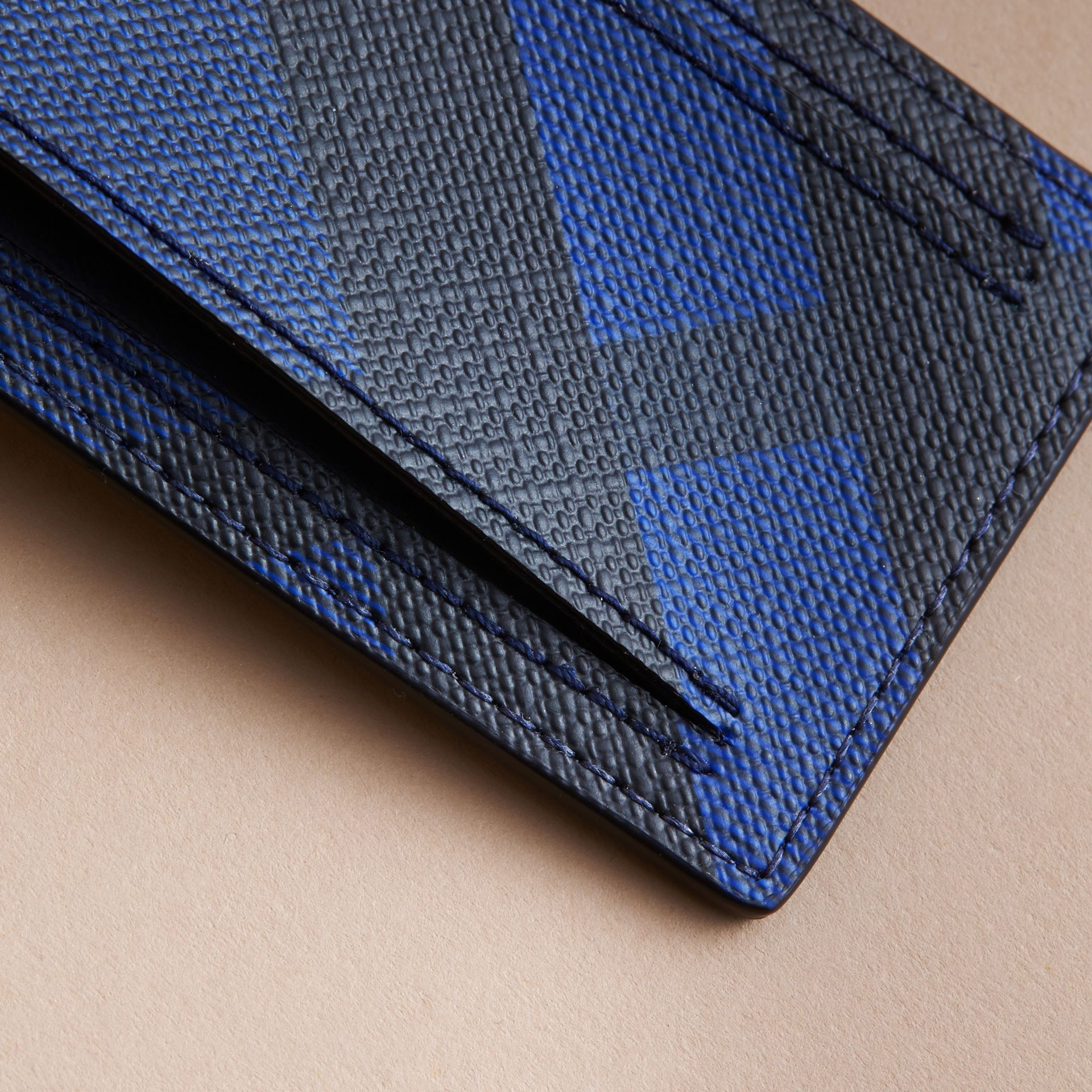 London Check Luggage Tag in Bright Lapis - Men | Burberry - gallery image 2