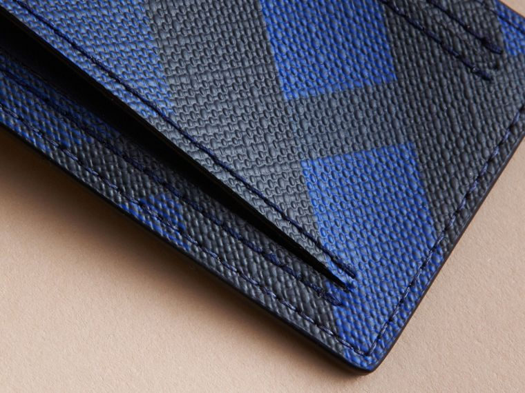 London Check Luggage Tag in Bright Lapis - Men | Burberry Canada - cell image 1