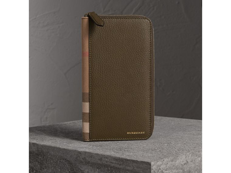 House Check and Grainy Leather Ziparound Wallet in Sage - Men | Burberry - cell image 4