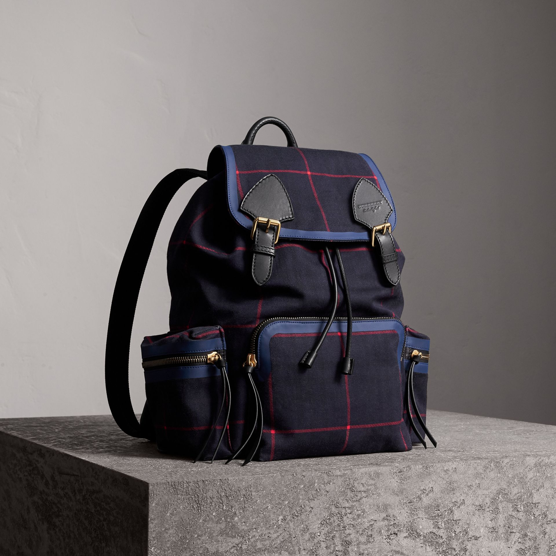 The Large Rucksack in Tartan Cotton in Deep Navy - Men | Burberry Australia - gallery image 0