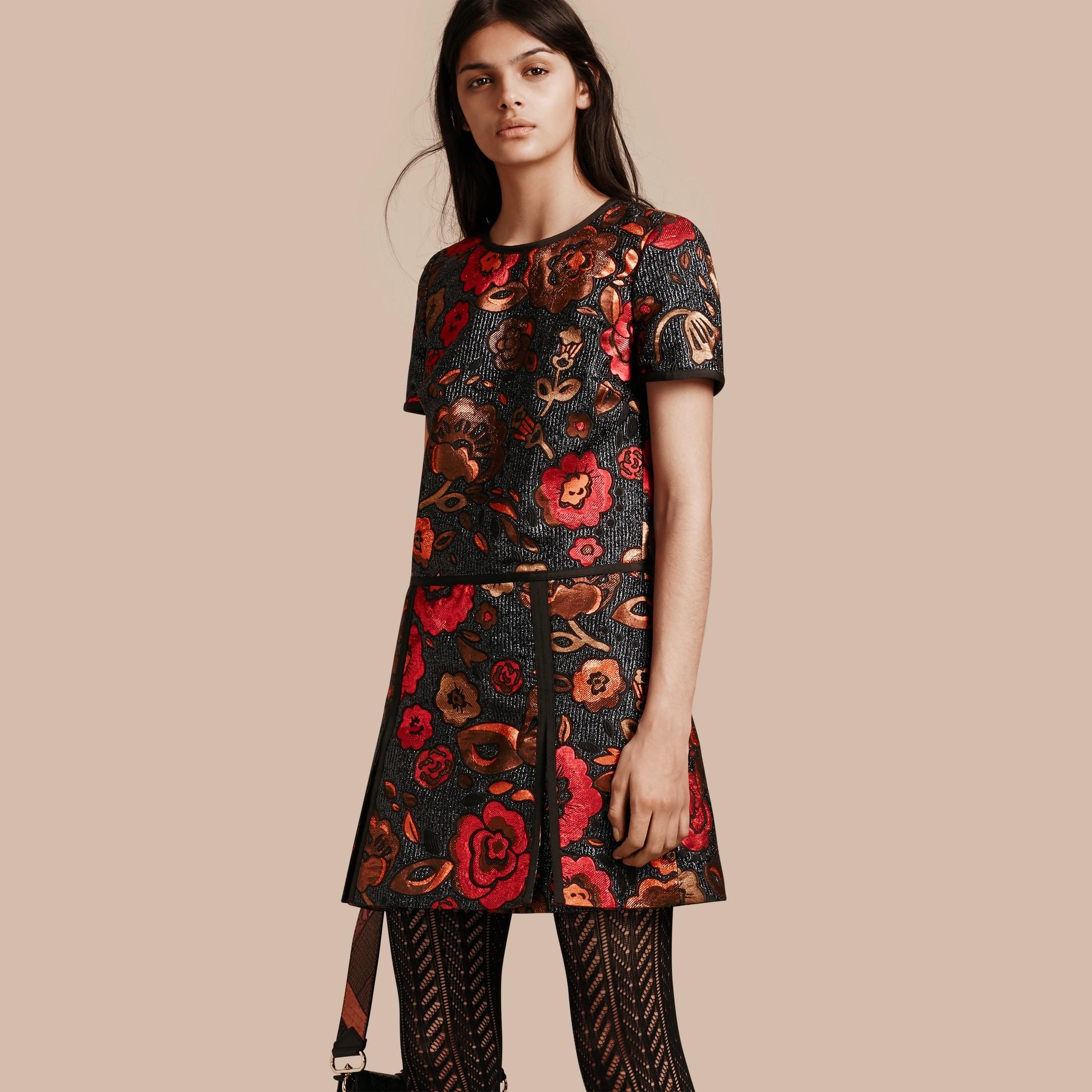 Navy Floral Jacquard T-shirt Dress - gallery image 1