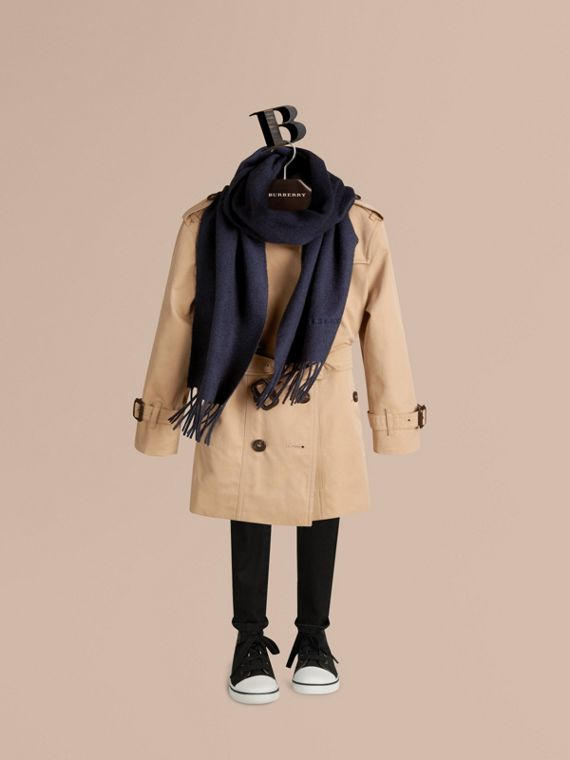 The Mini Classic Cashmere Scarf in Navy | Burberry Australia - cell image 2