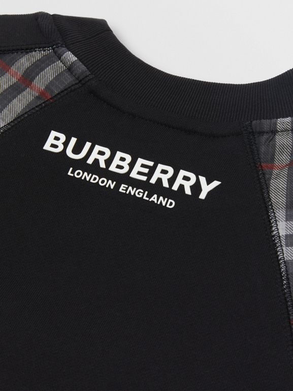 Vintage Check Panel Cotton Sweater Dress in Black | Burberry - cell image 1