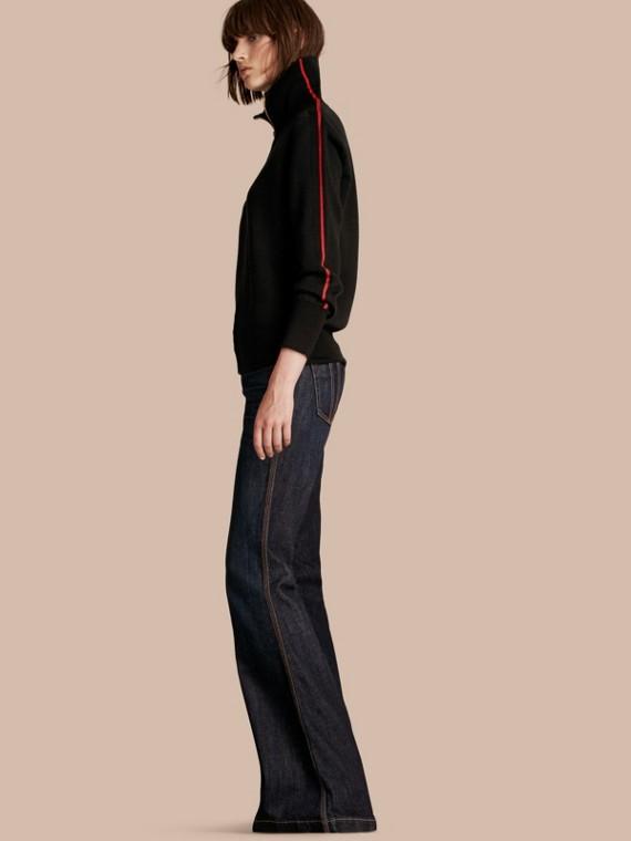 Zip-through Stretch Wool Cardigan