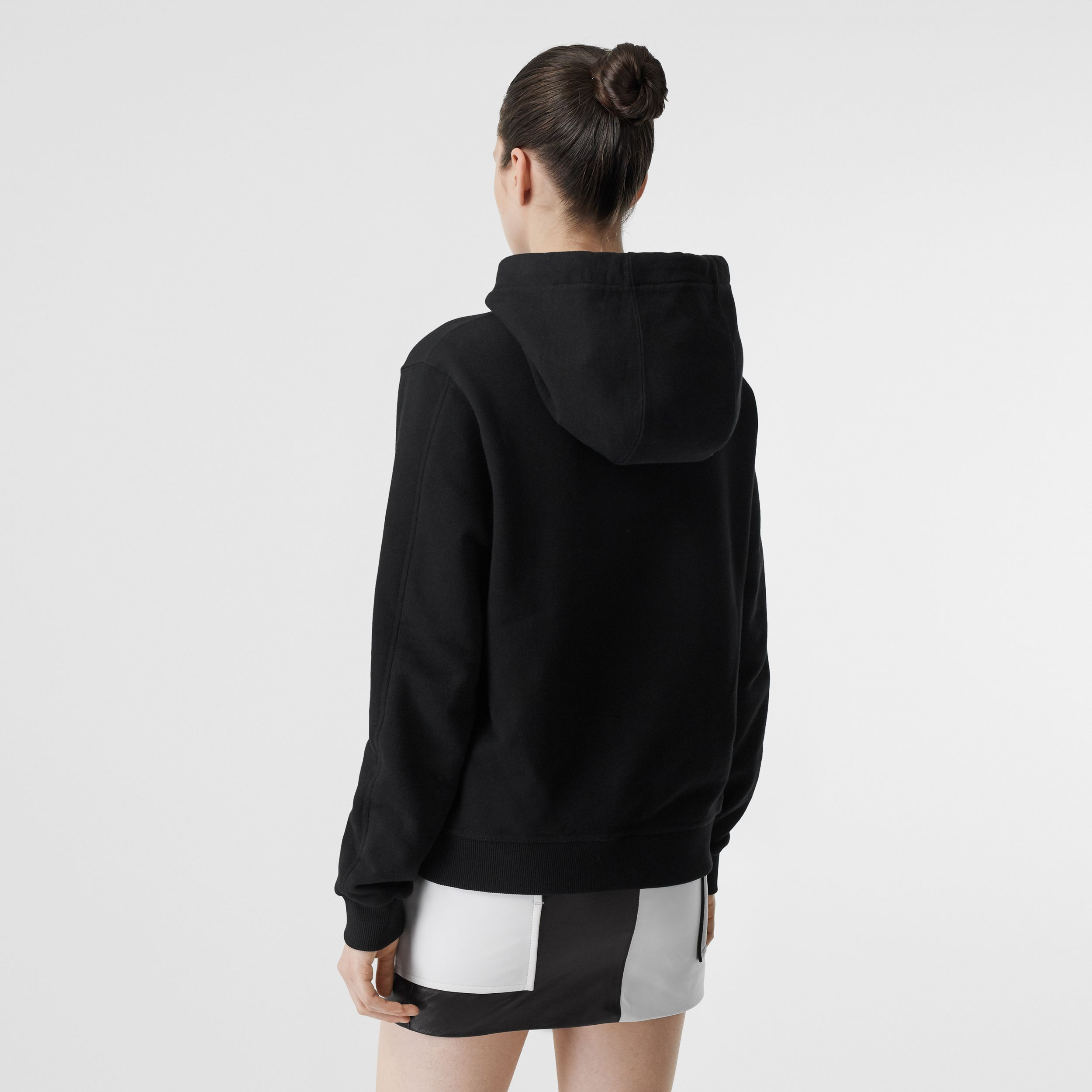 Embroidered Logo Cotton Oversized Hoodie in Black - Women | Burberry - 3