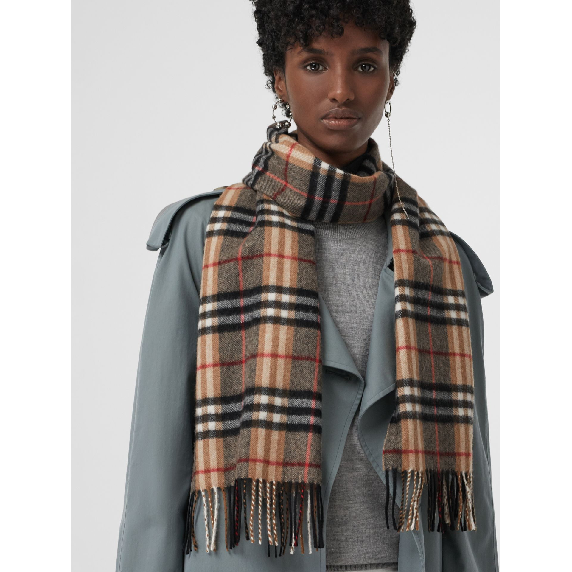 Check Cashmere Scarf in Camel | Burberry United Kingdom - gallery image 5