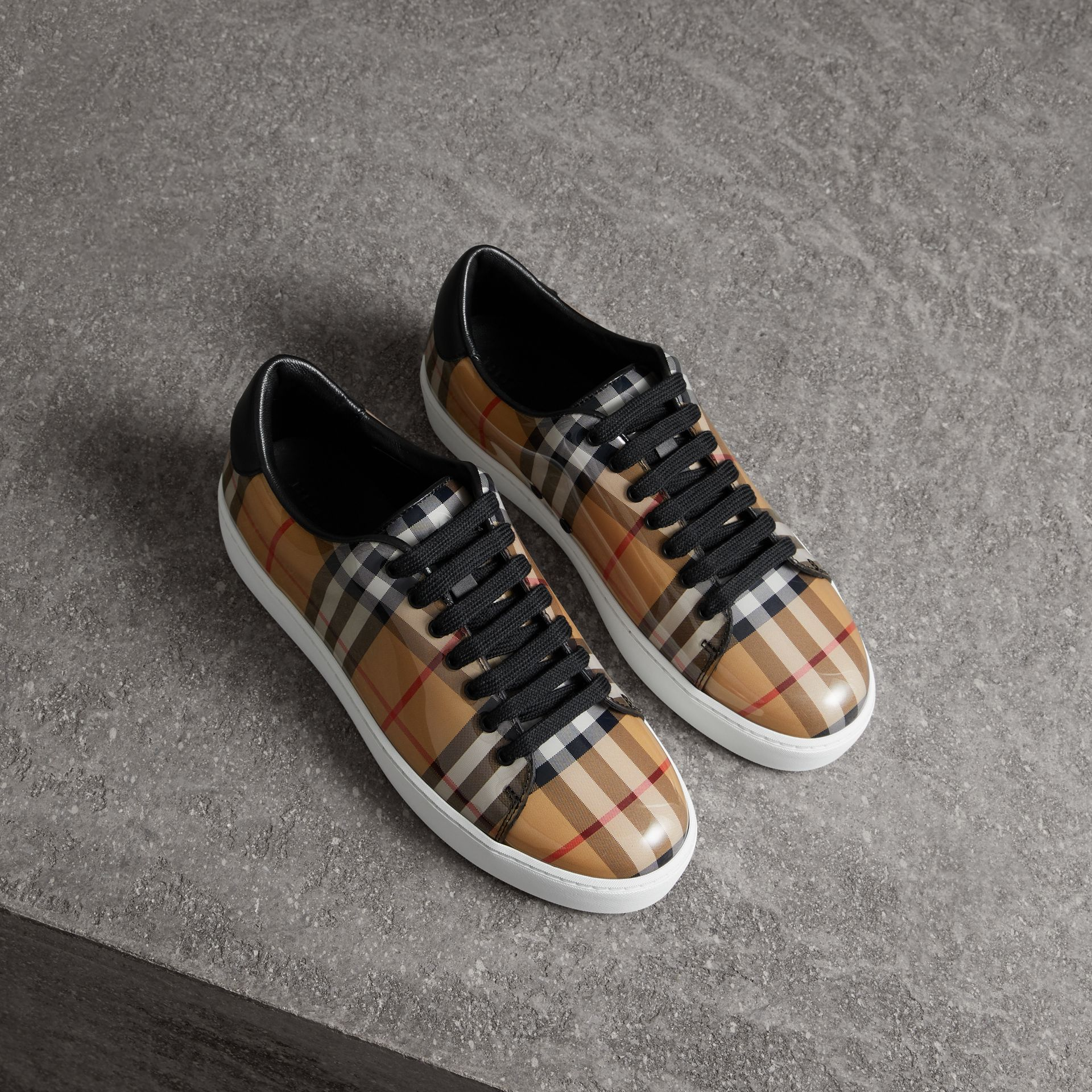 Vintage Check and Leather Sneakers in Antique Yellow - Women | Burberry - gallery image 0