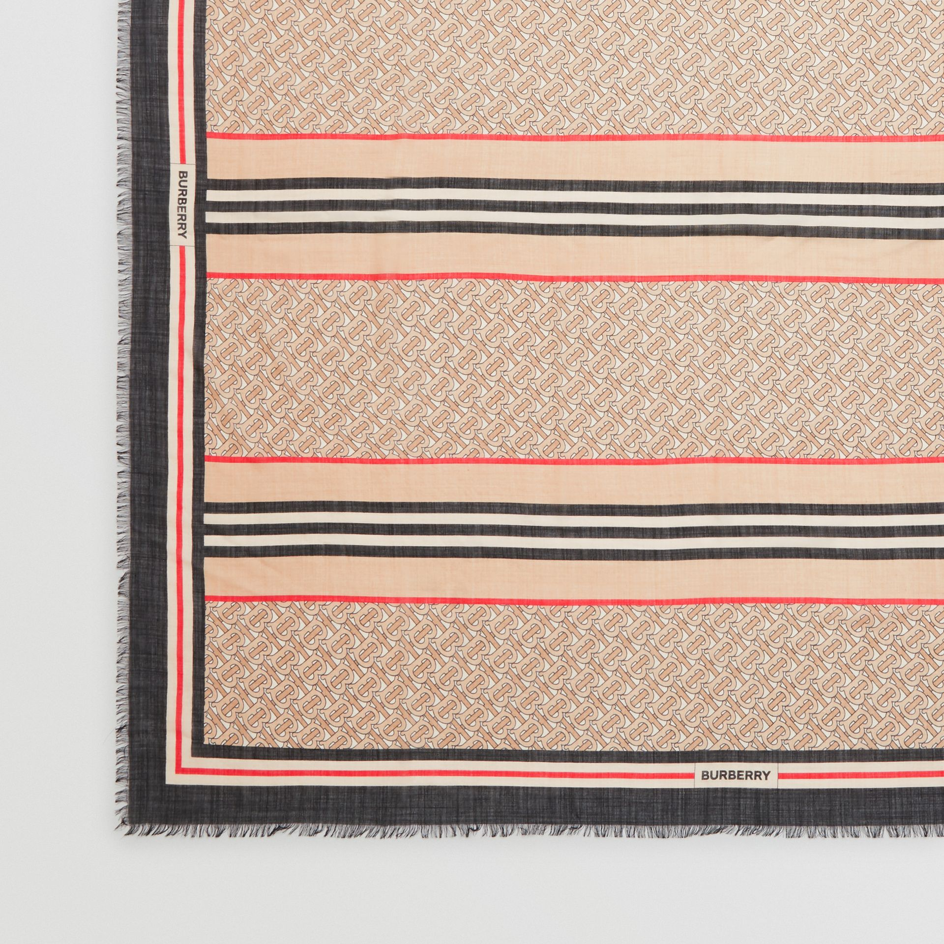 Icon Stripe Monogram Print Wool Silk Square Large Scarf in Archive Beige | Burberry United Kingdom - gallery image 1