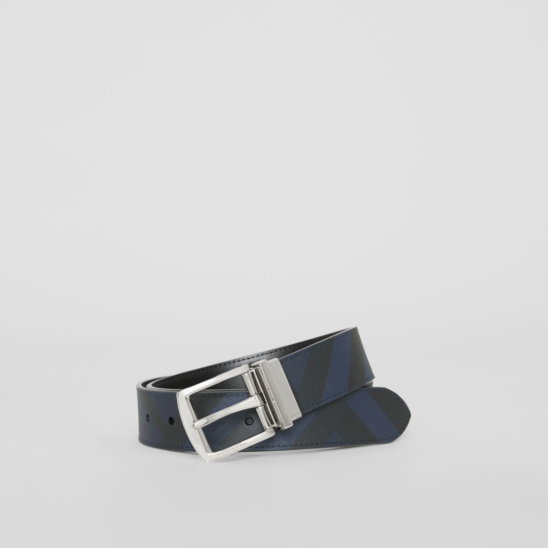 Reversible London Check and Leather Belt in Navy/black - Men | Burberry Hong Kong - gallery image 0