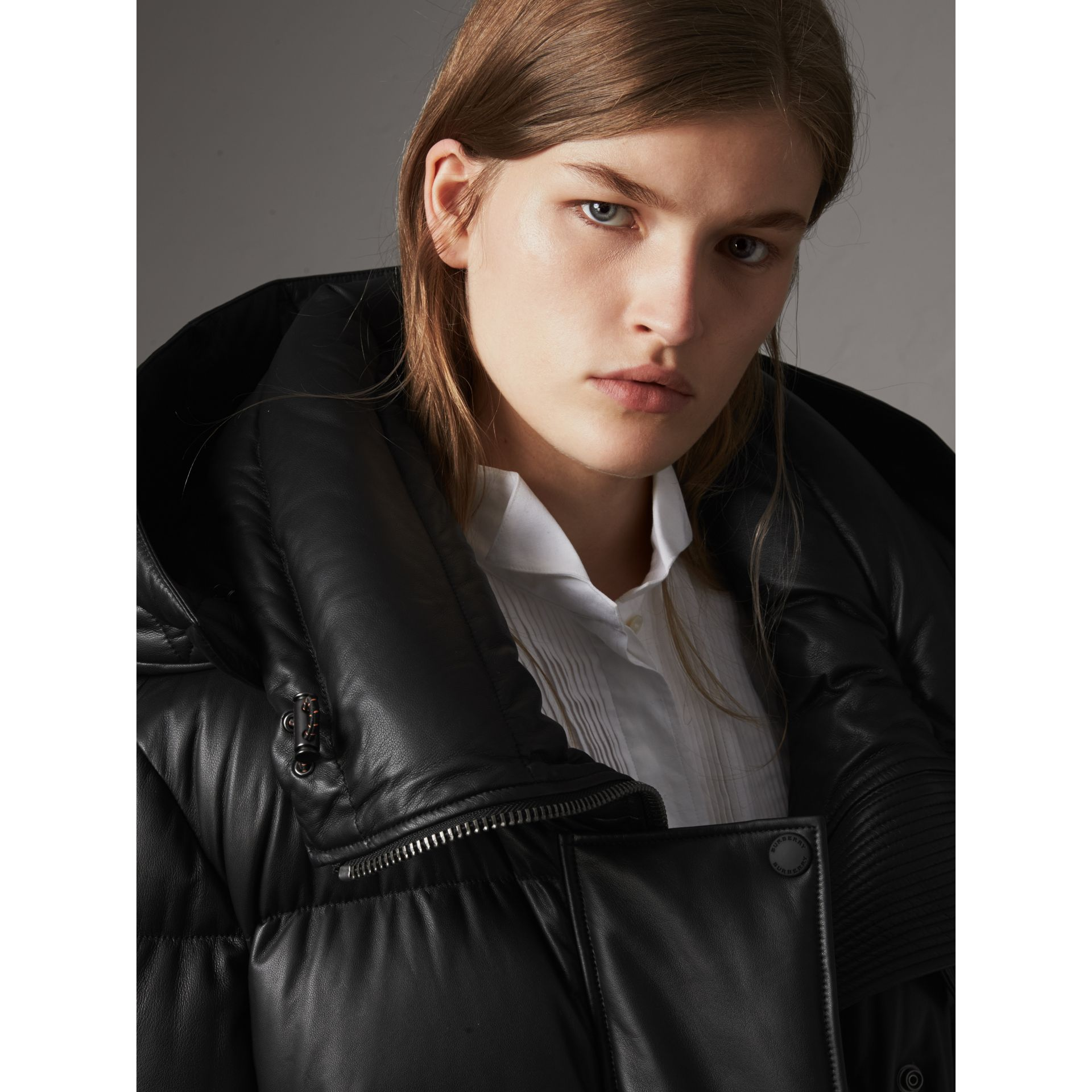 Detachable Hood Lambskin Puffer Jacket in Black - Women | Burberry - gallery image 2