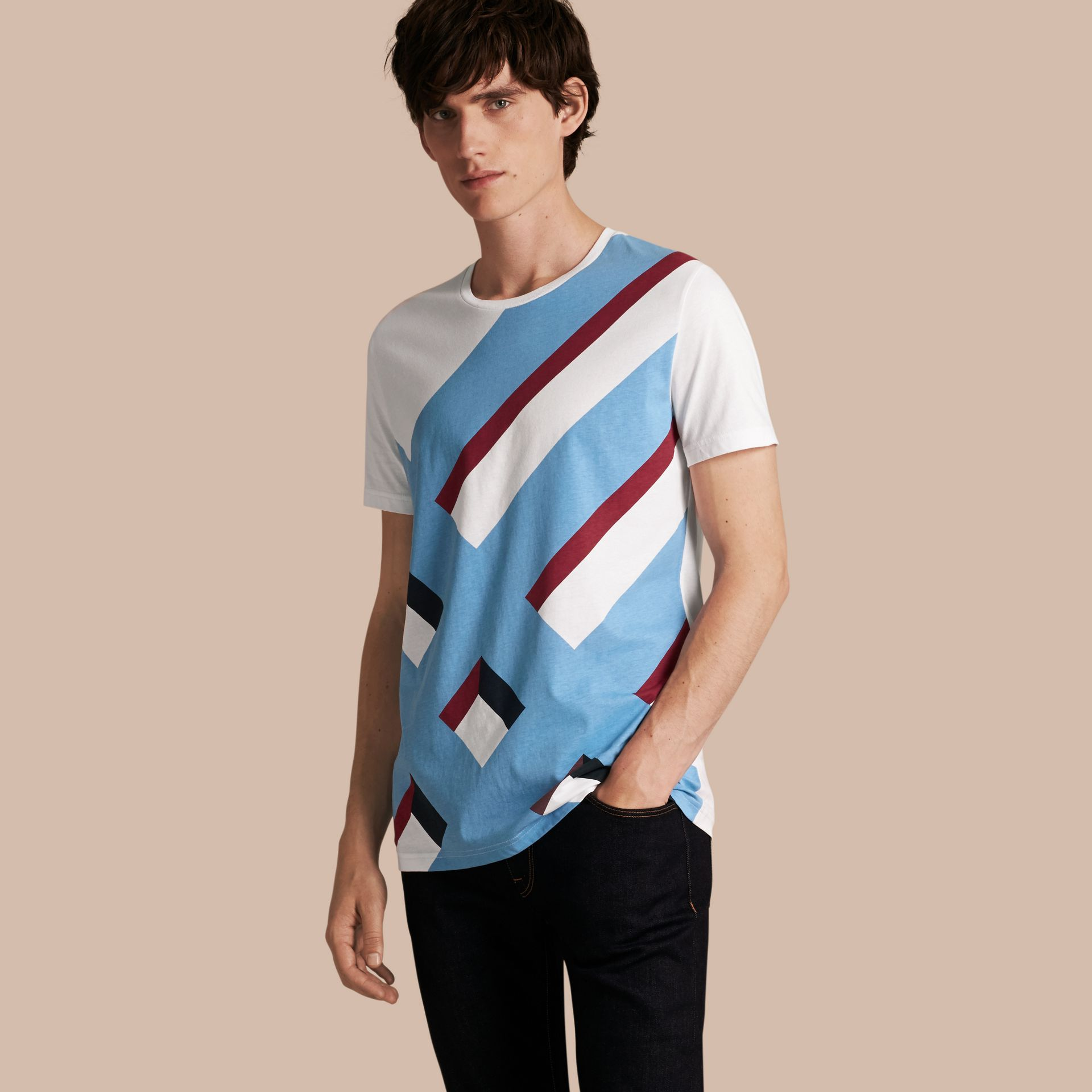Abstract Check Print Cotton T-shirt - gallery image 1