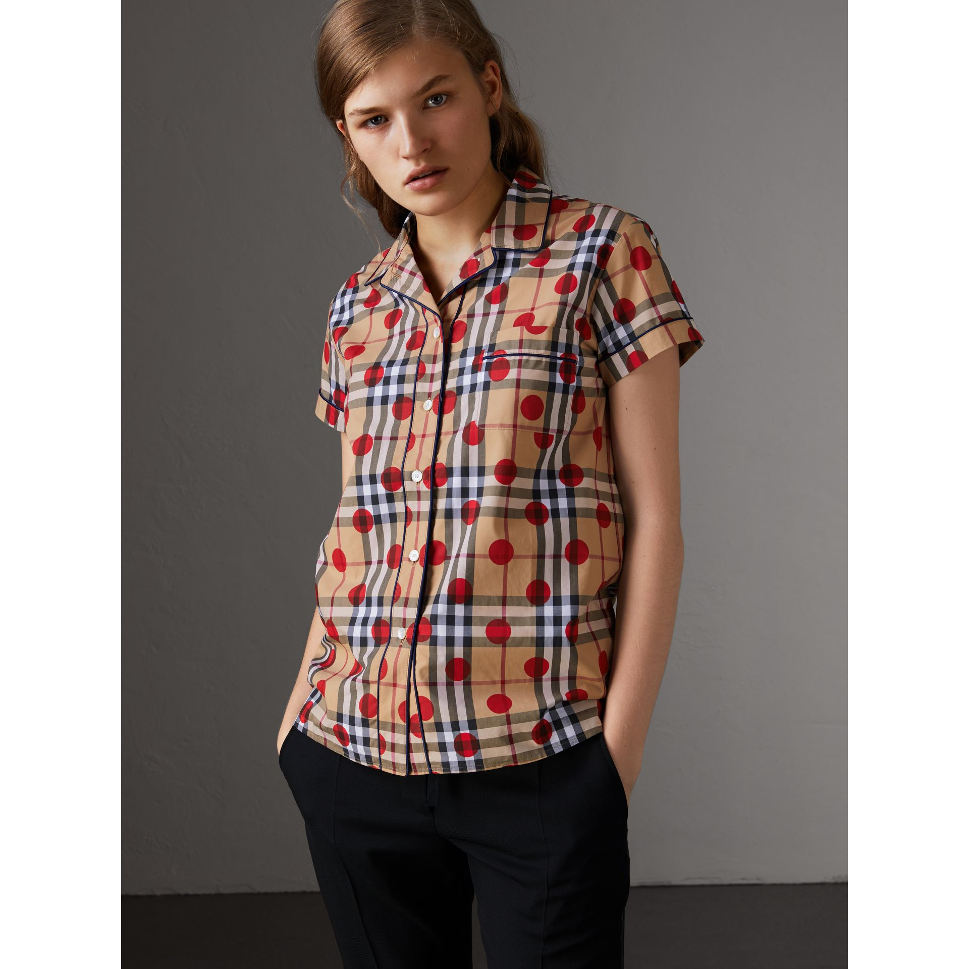 Short-sleeve Spot Print Check Cotton Shirt in Parade Red - Women | Burberry - gallery image 1