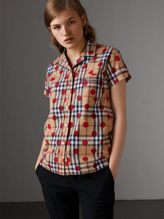 Short-sleeve Spot Print Check Cotton Shirt in Parade Red