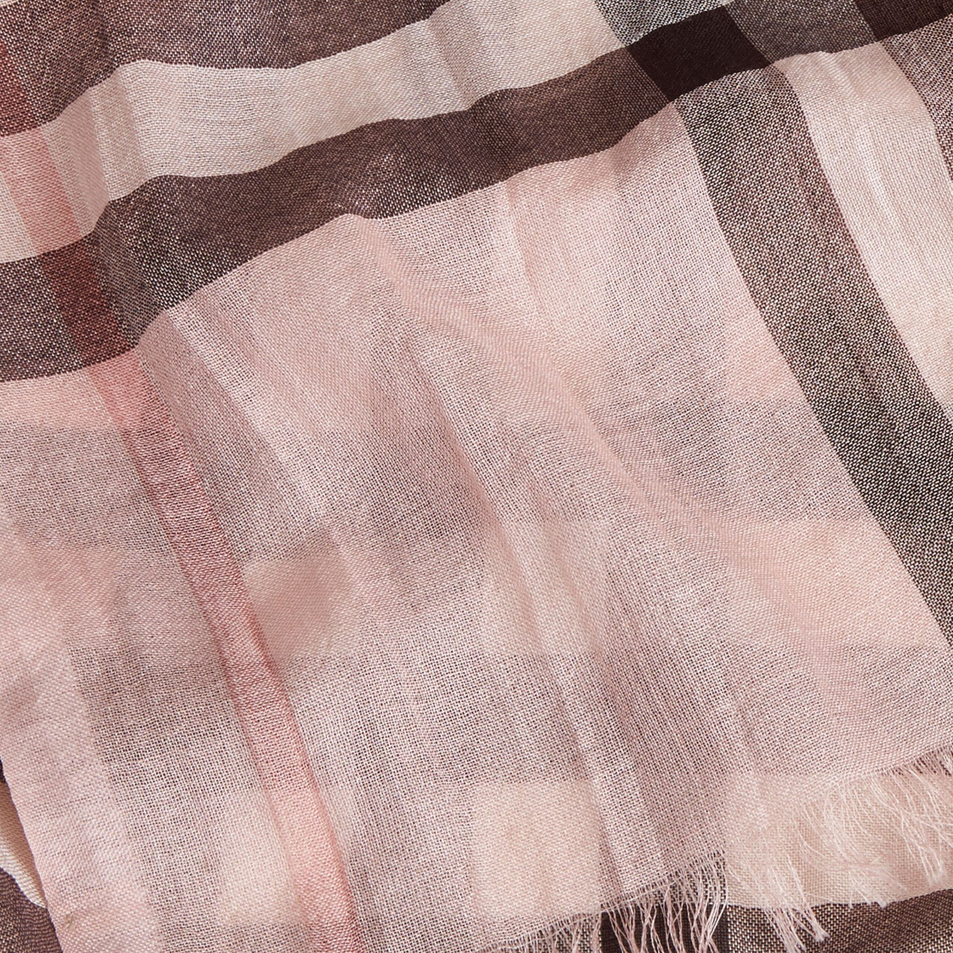 Lightweight Check Wool and Silk Scarf in Ash Rose - gallery image 2