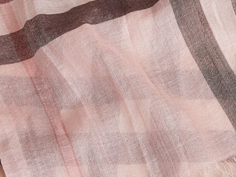 Lightweight Check Wool and Silk Scarf in Ash Rose - cell image 1