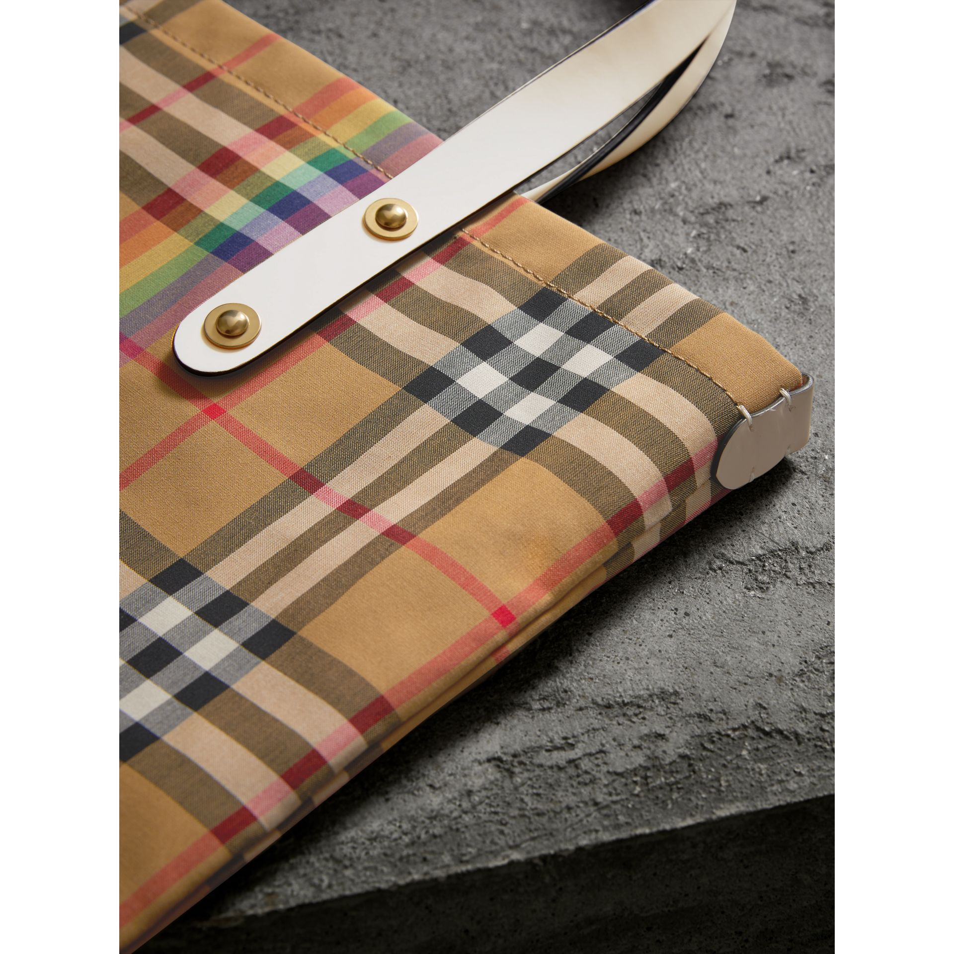Rainbow Vintage Check Medium Shopper in Natural | Burberry - gallery image 1
